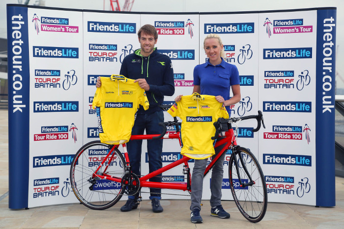 Professional cyclists Alex Dowsett and Jessie Walker announce Friends Life's sponsorship of the Tour of Britain